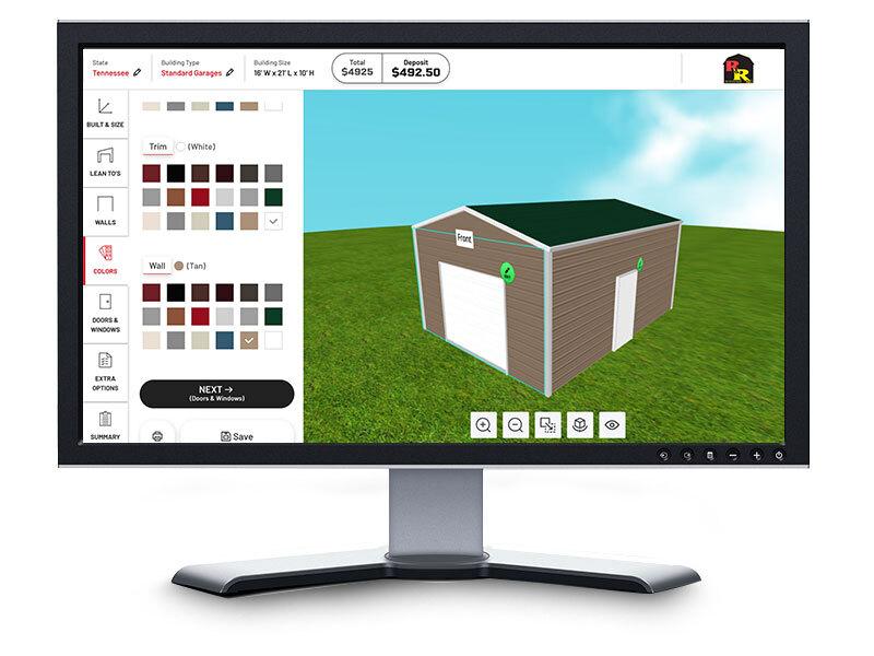 online carport builder on desktop