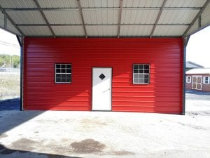 red and white metal carport