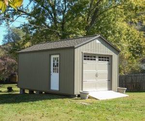 Light green metal garage from R&R Buildings Oak Ridge