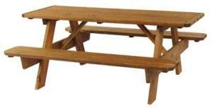 6ft wooden outdoor picnic table