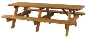 8ft wooden outdoor picnic table
