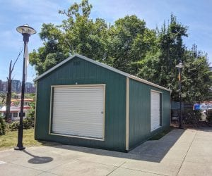 Dark green metal garage from R&R Buildings Oak Ridge