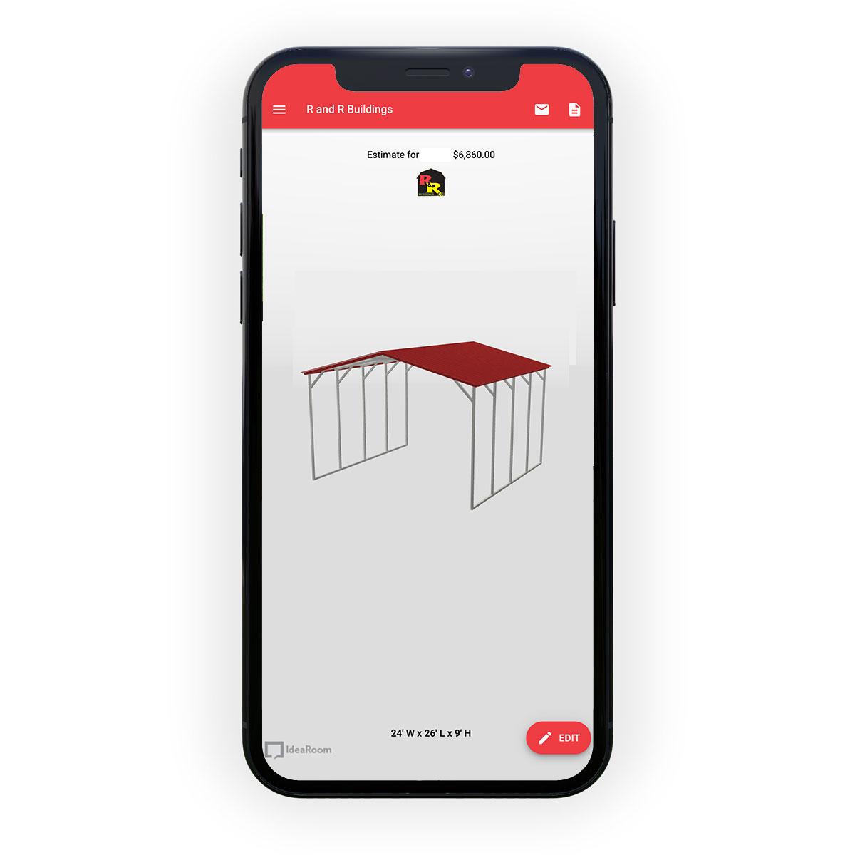 online metal carport builder on mobile phone