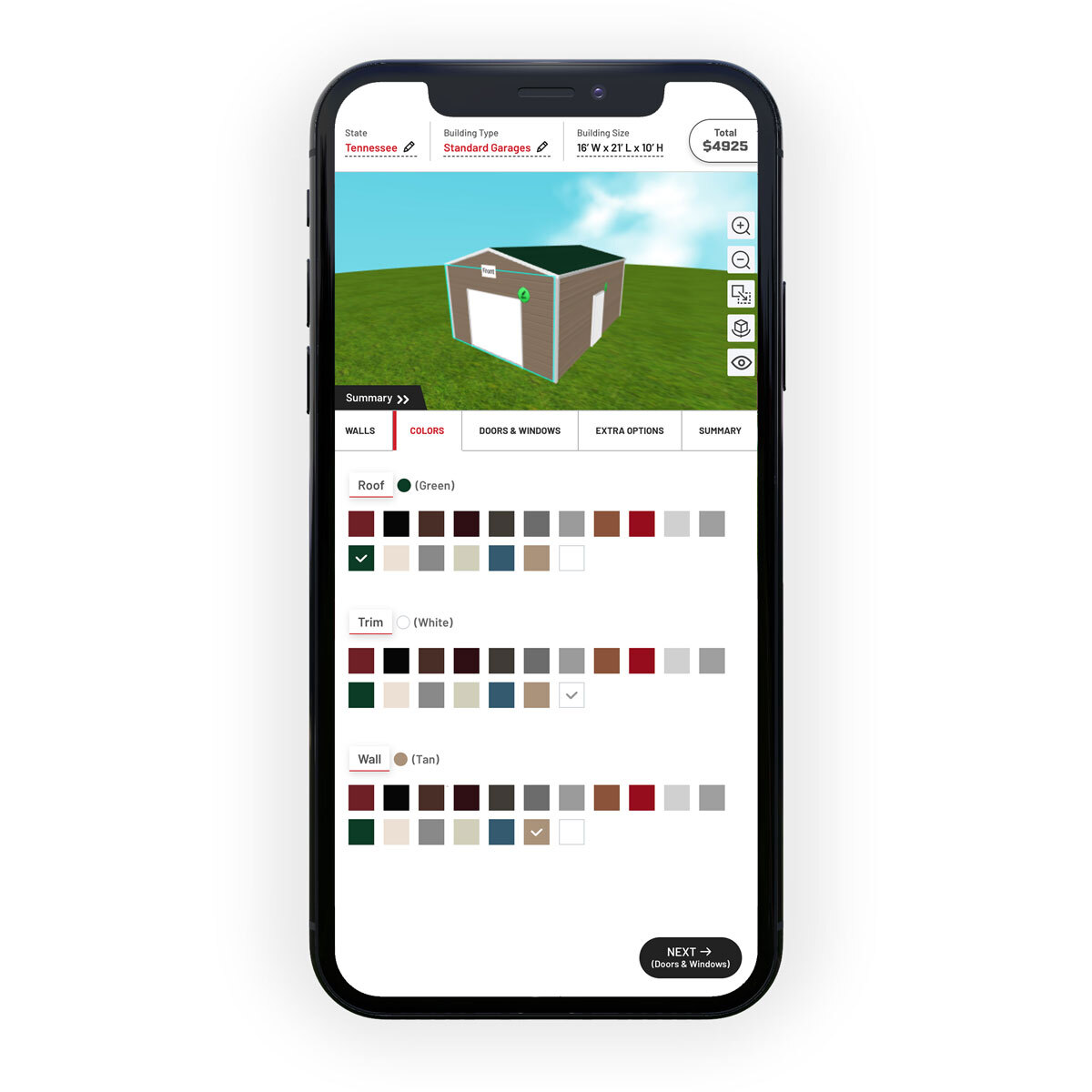online metal garage builder on mobile phone