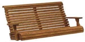 wooden outdoor swing bench